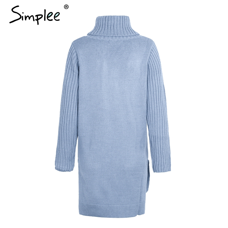 Simplee Turtleneck high split knitting pullover Autumn winter long sleeve leisure sweater dress women pull streetwear jumper 14