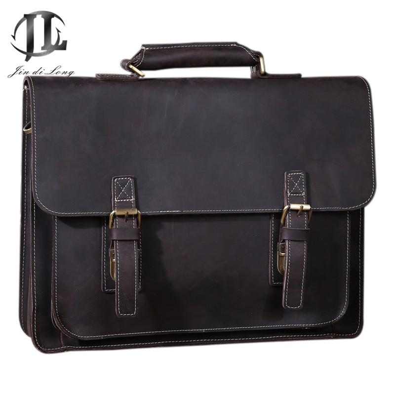 2019 Retro Bag Crazy Horse Genuine Leather Men Briefcase Classic Handbag Business Buckle Laptop Office Shoulder Bag Portfolio