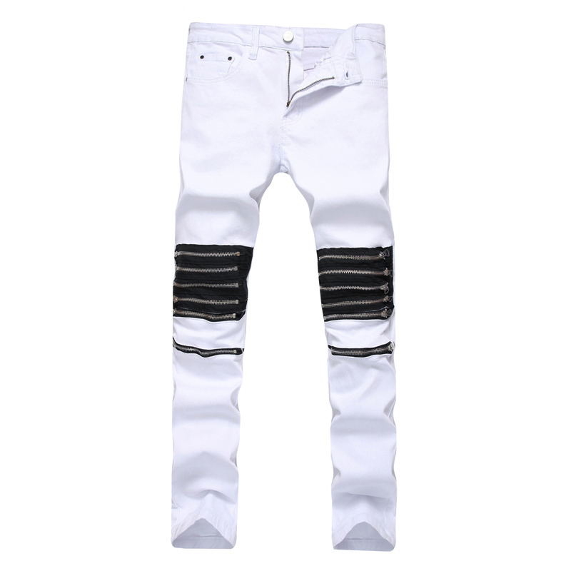 2019 New Fashion Spring  Men's High Street Jeans Zipper Ornament White Body Repair Straight Tube Elastic Small Feet Pants