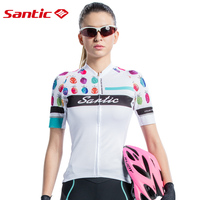Santic Summer Cycling Jersey Women Short Sleeve Bicycle Shirt Motocross Jersey Breathable Quick Dry Sportswear Cycling Clothing