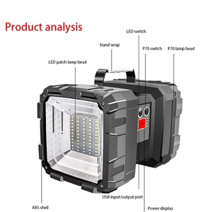 Image 3 - Наружный зарядный портативный солнечный рабочий светильник, дикая рыбалка, ночной рыболовный светильник, светильник для поиска бликов, 500 метров, уличный светильник