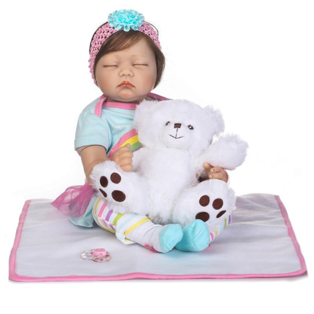 55cm Cloth Body Handmade Babe Reborn Baby Doll Soft Silicone Vinyl Baby Doll Non-toxic Safe Toy Lifelike Newborn Baby Doll Toy 50 55 56cm baby doll babe reborn cloth body soft silicone vinyl baby doll toy playmate gift for girl safe handmade baby doll toy