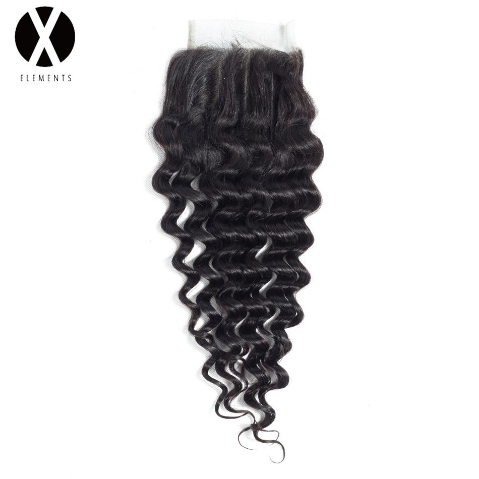 X-Elements 100% Mänskligt Hår 4 * 4 Snörning Snörning Brasilian - Mänskligt hår (svart) - Foto 1