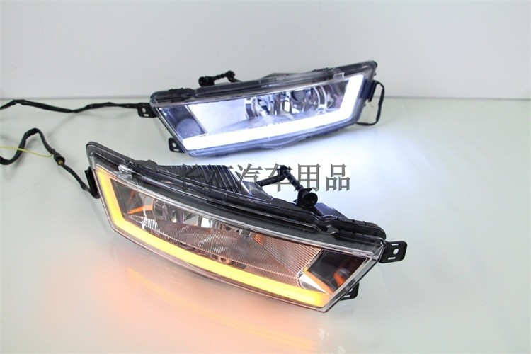New arrival led drl daytime running light fog lamp with yellow turn signal for skoda rapid 2013-15, top quality, plug and play for volkswagen vw polo 2014 led drl daytime running light led fog lamp top quality with yellow turn indicator top quality
