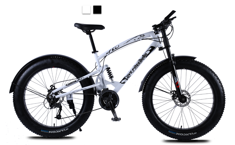HTB19ayMa0jvK1RjSspiq6AEqXXaC Love Freedom High Quality Bicycle 7/21/24/27 Speed 26*4.0 Fat Bike Front And Rear Shock Absorbers double disc brake Snow bike