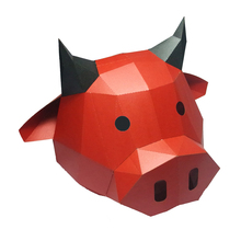 Paper-Mask Animal-Costume Cosplay DIY 3D Halloween Red Bull-Cow Party-Gift Christmas