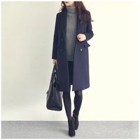 2018 autumn and winter new women's wear fashionable dress and a long double breasted lapel coat c535