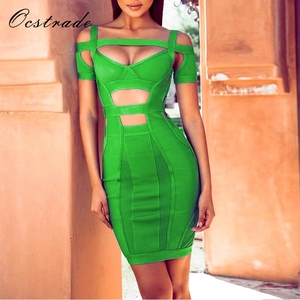 Ocstrade Summer New Arrival 2017 Women Green Bodycon Bandage and Mesh Dress with Bardot Neckline Wholesale HL