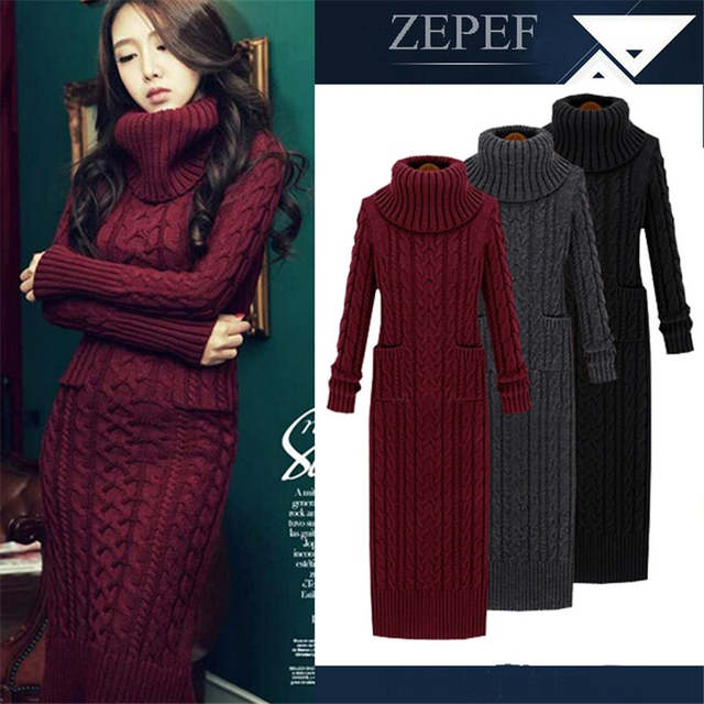 358b6d304d4 placeholder Women Winter Knit Dresses 2016Europe Long Sleeve Turtleneck  Casual Slim Warm Maxi Sweater Dress Plus Size