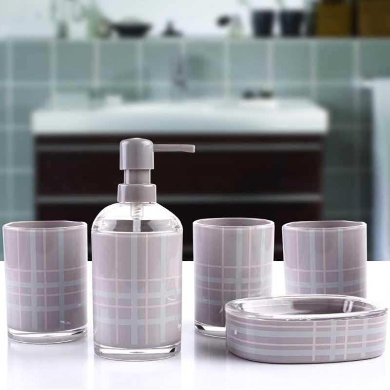 BAISPO łazienka akcesoria 5 sztuk/zestaw akryl Bin mydelniczka w płynie dozownik butelka szczoteczki do zębów zestaw świeczników domu łazienka produkty zestaw do kąpieli