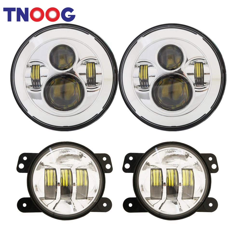 TNOOG DOT Approved 7 inch Round LED Headlight + 4 inch LED Fog Lights for Jeep Wrangler 97-2017 JK TJ LJ