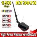 De alta Velocidad de Conexión Gratuita A Internet WiFi Adaptador USB Inalámbrico 150 Mbps RT3070 Receptor de Largo Alcance + Wi fi Antena Wi-fi 1000 mw