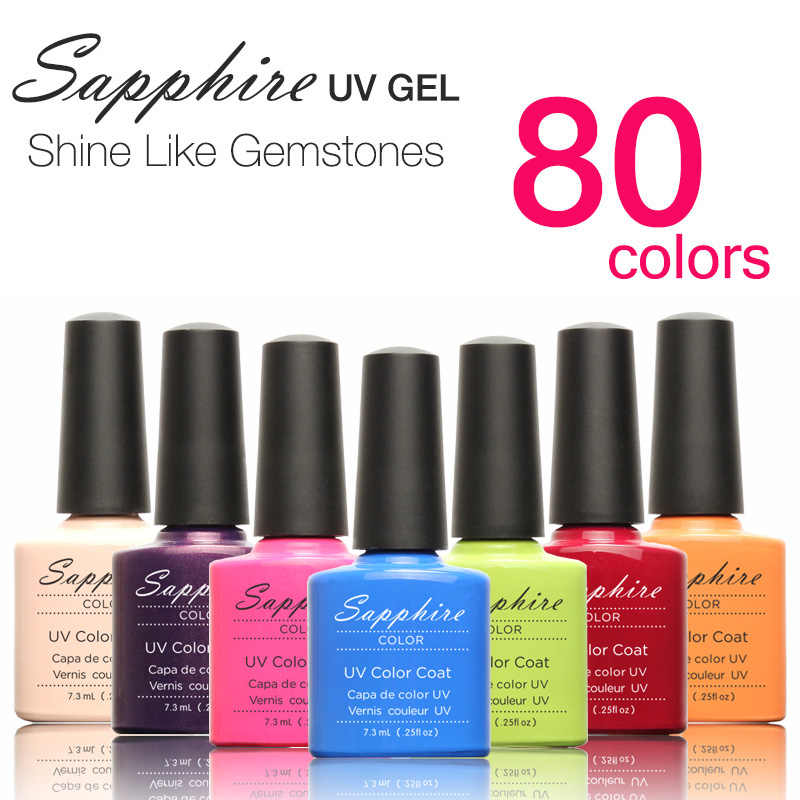 Sapphire 1 แผ่น Sapphire เล็บใหม่ล่าสุด 80 แฟชั่น UV Gel 7.3 ML #001-030
