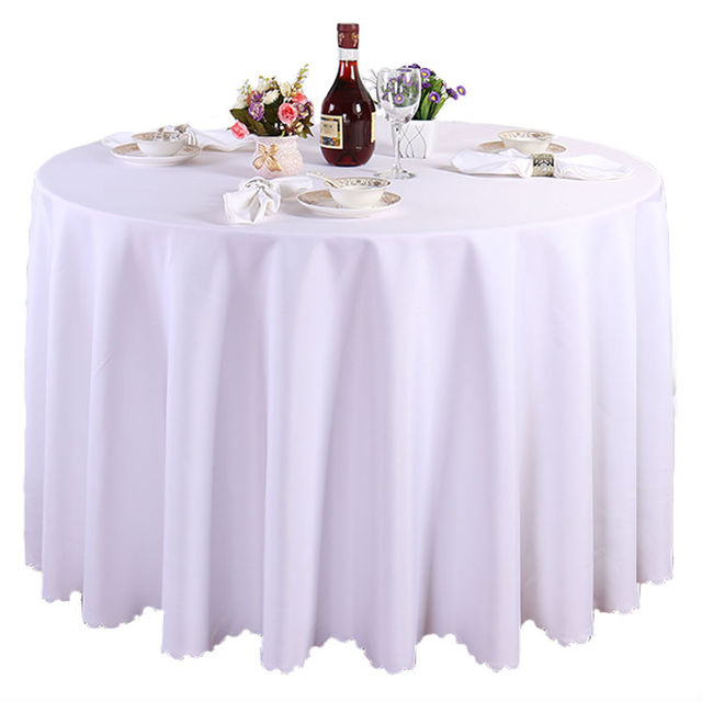High Quality 10 Pieces 120 Inch White Polyester Round Tablecloth Linen  Banquet Table Linen Wedding Decoration