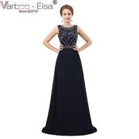 VARBOO_ELSA robe de festa 2018 de luxe en cristal perlé robe de soirée bleu marine sans manches A-ligne robe de bal longue robe de soirée
