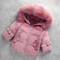 1 6 Y Kids Winter Coat White Duck Down Toddler Girls Down Jacket Parkas Snow Wear Real Fur Collar Thick Warm Kids Girl Snowsuit