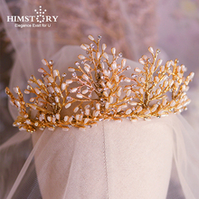 Himstory Handmade Pearls Bridal Headdress Wedding Tiaras Crowns Crystal Brides Hair Accessory Jewelry Gifts
