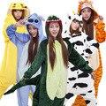 Lindo Dinosaur Kigurum Franela Pijamas Animal Onesies Unisex Adulto Y Niño Panda Unicornio Animales Siamese Pijamas de Dibujos Animados de Invierno
