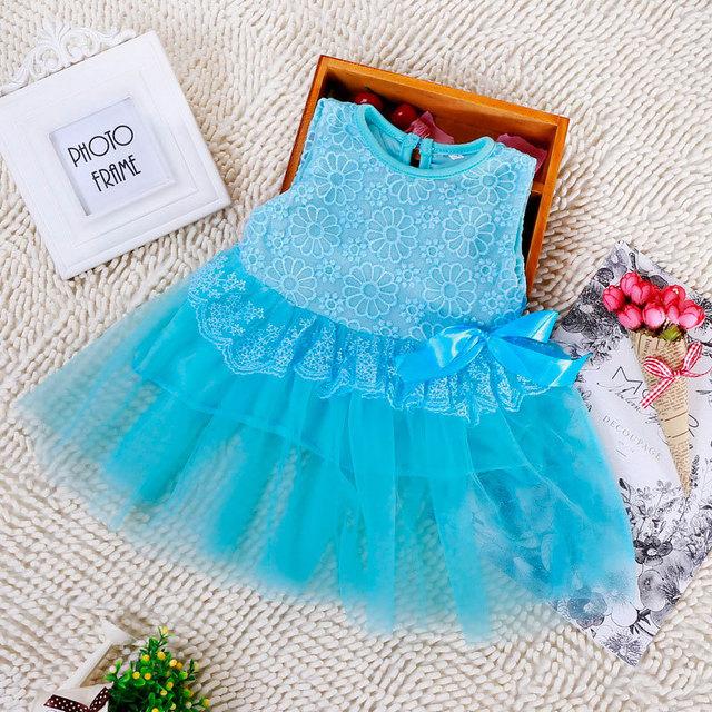 2016 Del verano de los Bebés casual vestidos de gasa de encaje floral tutu ropa infantil niños ropa de niño que arropan vestido bebe