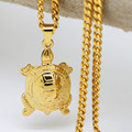 Gold Plated turtle pendants necklaces High Quality Fashion Hiphop 70cm long necklaces Chain for men bijouterie jewelry 2016