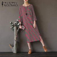 2017 ZANZEA Autumn Vintage Striped O Neck Long Sleeve Midi Dress Women Casual Loose Kaftan Party
