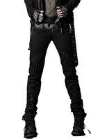 Панк Новые продукты личности веревка назад джинсовые брюки для мужчин Обычные прямые джинсы с застежкой молнией головы