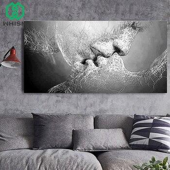 a2ff20728f Pintura al óleo WHISM No tejida amor Kiss pintura abstracta pareja lienzo pinturas  para sala de estar pared impresión sin marco Cuadros decorativos