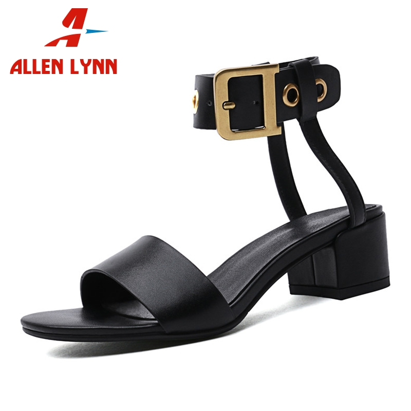 ALLENLYNN Brand New Big Size 33-43 Luxury Genuine Leather Ladies High Heels Shoes Woman Casual Party Ol Summer Sandals