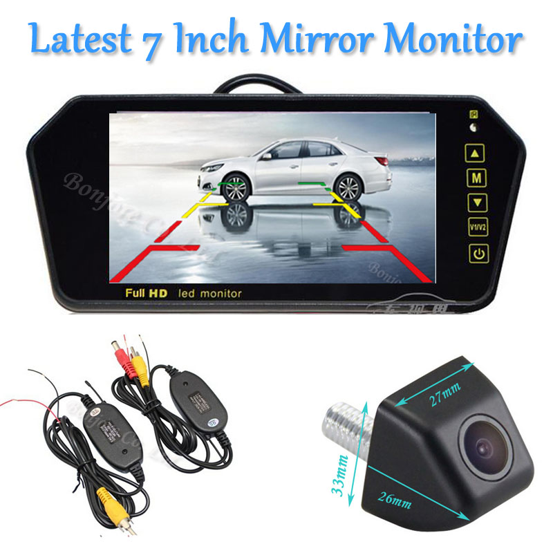 Wireless Kit 7'' Color TFT LCD Screw Widescreen Video Input Touch Button Car Mirror Monitor Parking Reverse Rear view Camera 7 inch tft lcd color auto car monitor 2 video input car rear view parking monitor wireless 10 ir car rear view reverse camera