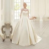 Vestido De Novia Corto свадебное платье es 2019 с длинным рукавом Аппликации А силуэта винтажное атласное свадебное платье Плюс Размер свадебное платье