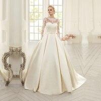 Vestido De Novia Corto Wedding Dresses 2019 With Long Sleeves Appliques A line Vintage Satin Wedding Dress Plus Size Bridal Gown