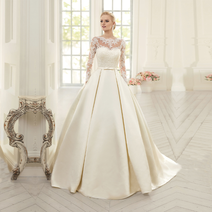 Vestido De Novia Corto Wedding Dresses 2019 With Long Sleeves Appliques A line Vintage Satin Wedding Dress Plus Size Bridal Gown