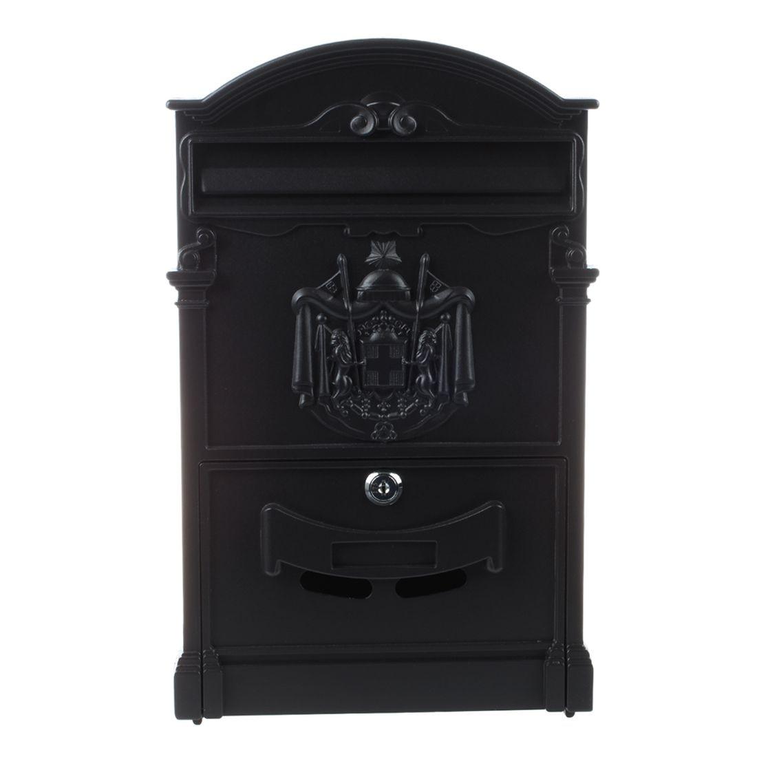 New Heavy Duty Black Aluminium Lockable Secure Mail Letter Post Box Letterbox New