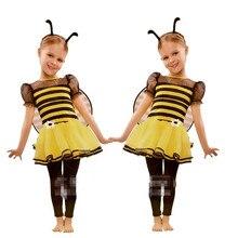 Yellow Bee Headband Wings Skirt Dress Set Children Girls Cosplay Bee Costume Halloween Party Supplies