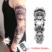 Style Queen Of Spades Temporary Tattoo Stickers Tribal Indian Temporary Tattoos For Whole Arm Body Art 45x15cm