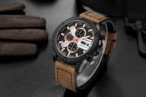 Image 3 - Casual Sport zegarki skórzany pasek wojskowy kwarcowy zegarek męski moda marka CURREN 2018 chronograf zegar męski Relojes