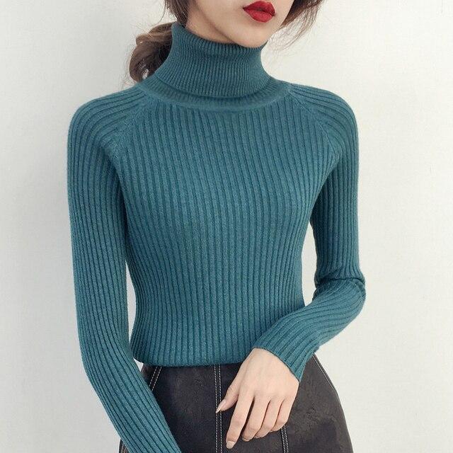 Nữ đầu ngắn tay áo Cao Cổ Áo Sơ Mi Hàn Quốc áo khoác mùa đông mỏng dài tay áo len tất cả các trận đấu Harajuku gió