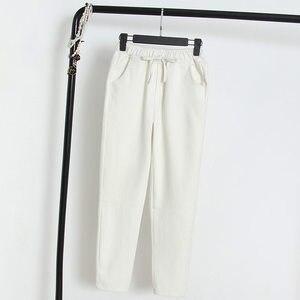 Image 4 - 2020 אביב קיץ כותנה פשתן הרמון מכנסיים נשים שרוך גבוהה מותניים מכנסיים נשים מכנסי קזואל טרנינג Pantalon C4216