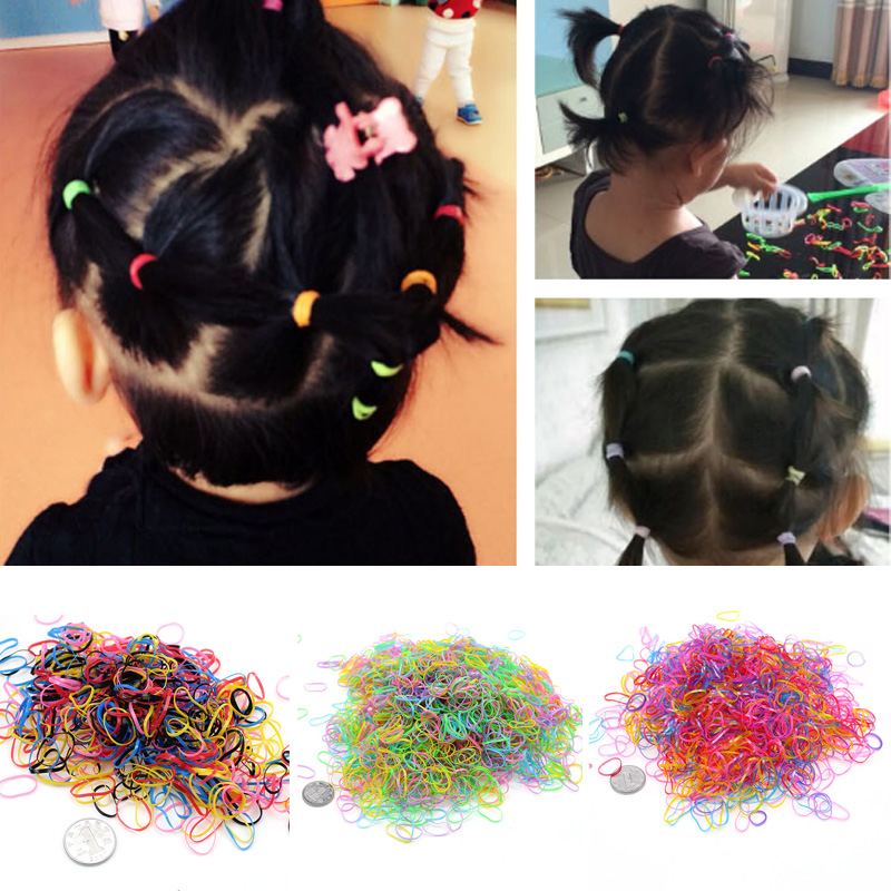 1000 Pcs/pack Rubber Ponytail Holder Baby Girls Children Colorful Clear Band Disposable Hair Ropes Ties Hair Accessories 300pcs pack solid headband rubber ropes for baby girls ponytail holder elastic kids hair bands ties children hair accessories
