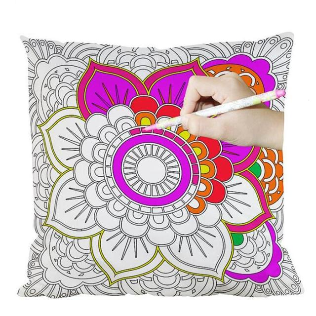 DIY Hand Painted Cushion Cover Geometric Plant Decorative Throw Inspiration Hand Painted Pillow Covers