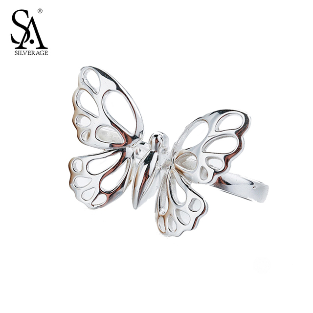 SA SILVERAGE Authentic 925 Sterling Silver Butterfly Rings Women Classic Original Design Fine Jewelry Rings for Wedding