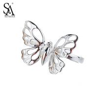 SA SILVERAGE 925 Sterling Silver Rings Sets Fine Jewelry Butterfly