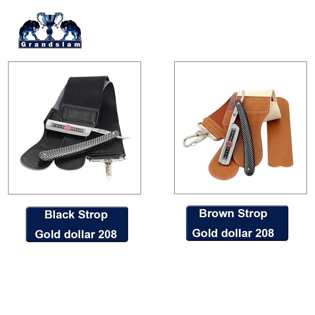 Gold Dollar 208 Straight Razor Cut Throat Shaving Folding Knife+ Leather Sharpening Belt Shaver Razor Strop For Men Shave Beard