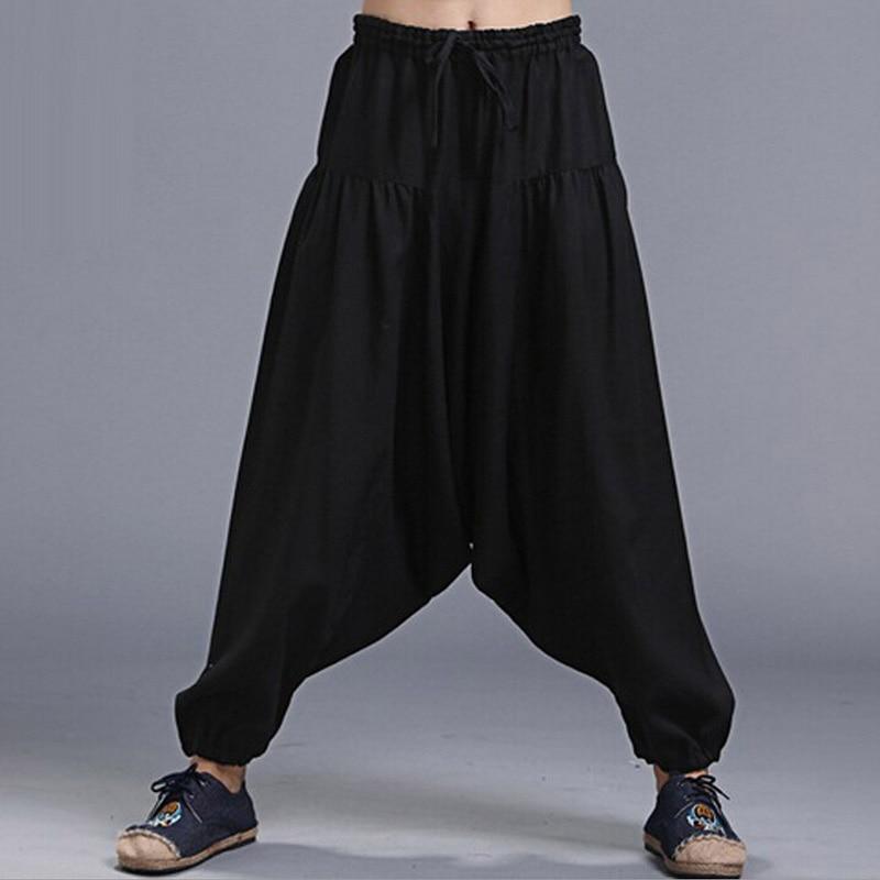Модные натуральные льняные шаровары мужские повседневные брюки Чино с эластичной резинкой на талии черные танцевальные штаны для кунг-фу ш...