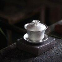 TANGPIN japan 999 silber und keramik gaiwan tee tasse handgemachte silber gaiwan drink