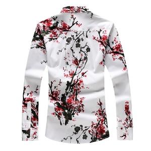 Image 2 - LONMMY 6XL 7XL Hawaiian shirt men Floral Long sleeve mens shirts dress 65% cotton casual slim fit Blusas masculina flower New