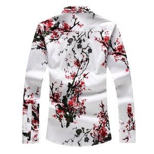 Image 2 - LONMMY 6XL 7XL koszula hawajska mężczyźni kwiecista długa rękaw koszule męskie sukienka 65% bawełna casual slim fit Blusas masculina kwiat nowy