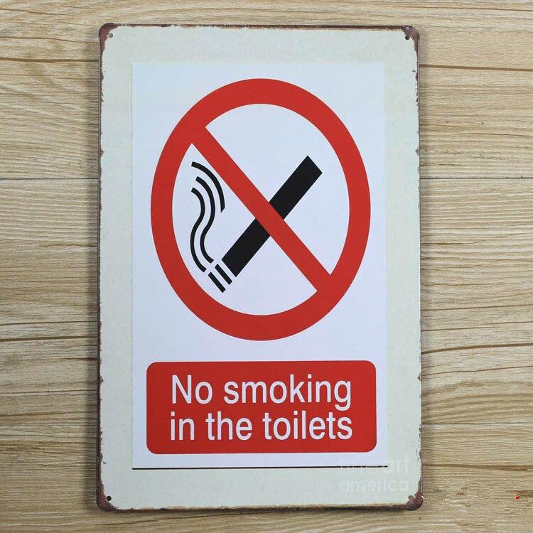 Предупреждение металла, жести Vintage House Бар Кофе Металл живописи No Smoking в туалетах Общие Wall Art украшения 20*30 см