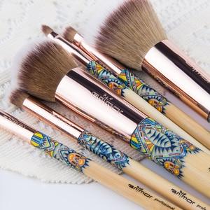 Image 4 - Anmor Makyaj Fırçalar 12 ADET Set Bambu Makyaj Fırça Yumuşak Sentetik Vakfı Pudra Kontur Göz Farı Kaş Kozmetik Araçları