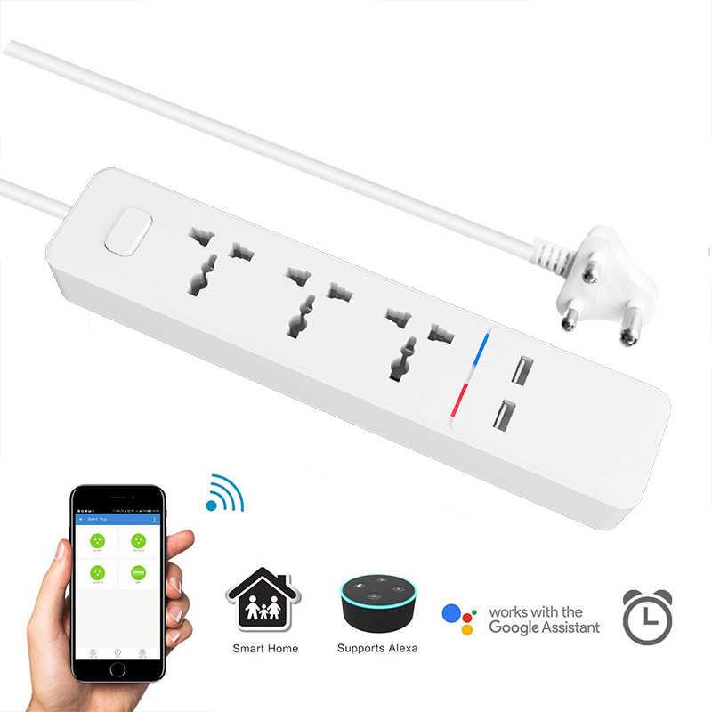 واي فاي مشترك كهرباء ذكي مع العالمي 3 المقبس 2 USB شحن محطة العمل مع اليكسا جوجل الرئيسية مساعد المملكة المتحدة/الاتحاد الافريقي/الاتحاد الأوروبي/الهند المقابس